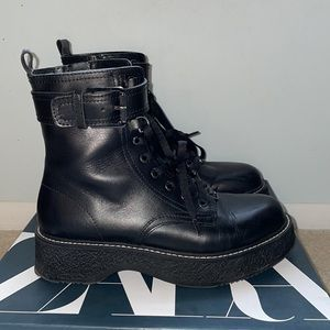 Zara size 8  ankle boots, leather,